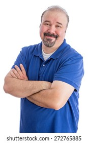 Close up Portrait of a Smiling Bearded Adult Guy in Blue Polo Shirt, Crossing his Arms over His Stomach While looking at the Camera. Isolated on White Background.