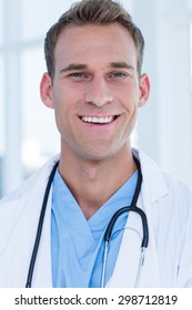 Close up portrait of a smiling doctor at the hospital
