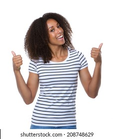 Close up portrait of a smiling young woman with thumbs up