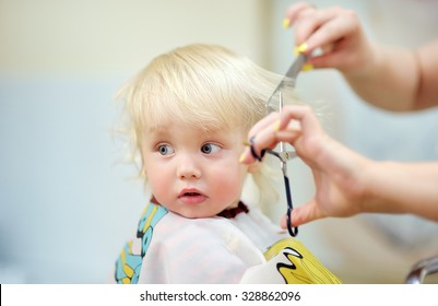 Close up portrait of toddler child getting his first haircut