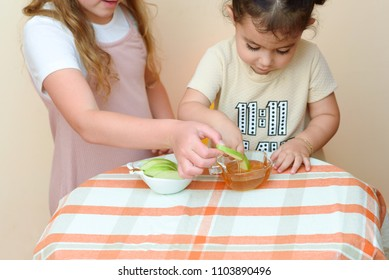 Close up portrait of  two funny cute little girl eat apple with honey indoor. Jewish children dipping apple slices into honey on Rosh HaShanah the Jewish New Year.Happy family celebrate Rosh HaShana.