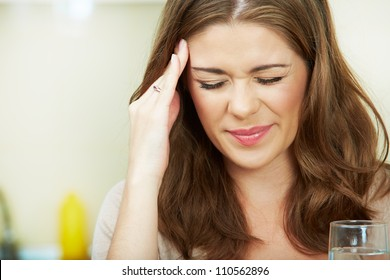 Close up Portrait of woman with headache