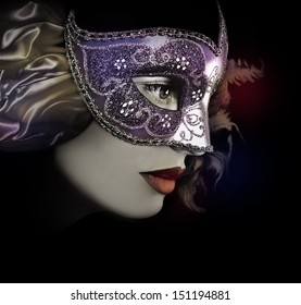 Close up portrait of woman in mask.