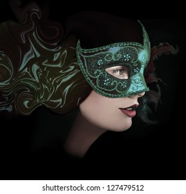 Close up portrait of woman in virid mask