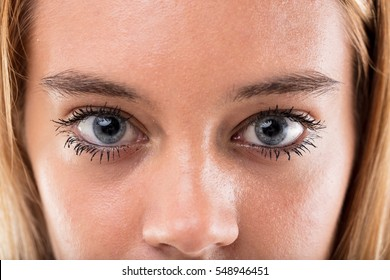 close up portrait of wonderful blue eyed blonde girl, she's real and very young