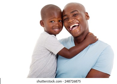 close up portrait of young african american father and son