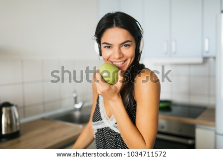 Close Portrait Young Attractive Woman Cooking Stock Photo