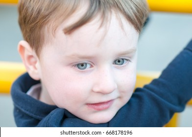 Close up Portrait of young boy outside