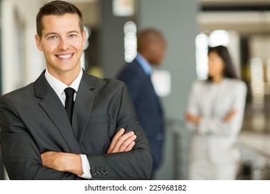 close up portrait of young caucasian businessman