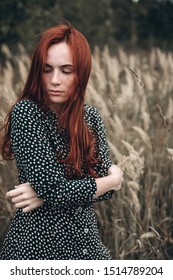 Close up portrait of young ginger sensual pretty caucasian lovely girl with freckled face in autumn field. Beauty, sexuality, red headed girl concept