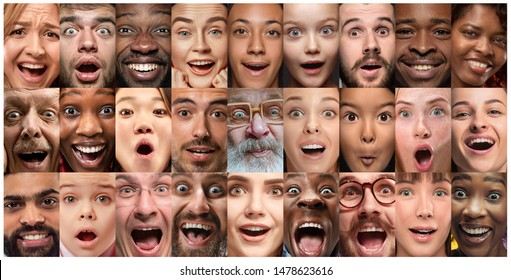 Close up portrait of young people. Human emotions, facial expression. People wondered, astonished, screaming and crazy in happiness, thinking. Creative collage made of different photos of 25 models.