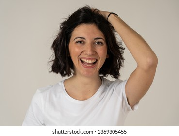 Close up portrait of young pretty caucasian woman with happy face and beautiful smile staring at the camera. Isolated on white. In People, positive human facial expressions and emotions concept.