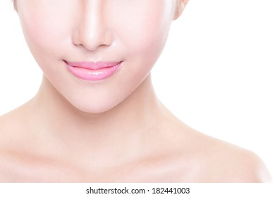 Close up portrait of young woman with beautiful lips