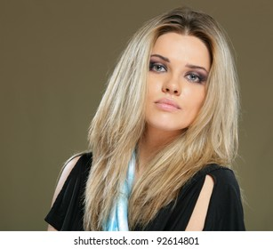 Close up Portrait of young woman with perfect lips. Isolated on studio background.