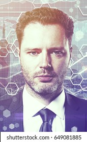 Close up portrait/headshot of handsome young businessman on digiatl business chart background. Financial growth concept