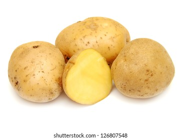 Close up of potatoes on white background