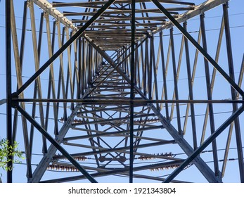 Close up of power poles and towers in the background of blue sky