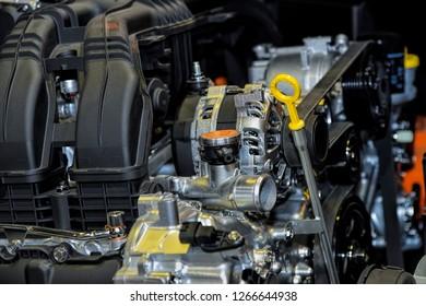 Close up a powerful car engine, selective focus.