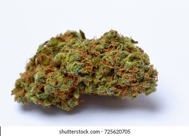 Close up of prescription medical marijuana flower strain Supreme Jack isolated on white background