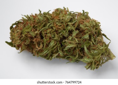 Close up of prescription medical marijuana indica strain Purgatory flower isolated on white background
