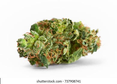 Close up prescription medical marijuana strain AK-47 strain on white background