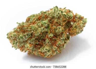 Close up of prescription medical marijuana strain Tahoe OG flower on white background