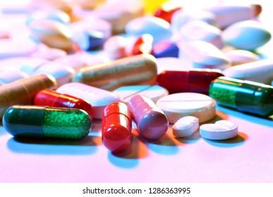 Close up of prescription pills and capsules