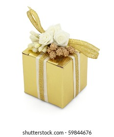 close up of  a present box on white background