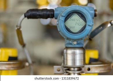 Close up of pressure transmitter for measurement and monitor data of oil and gas process.