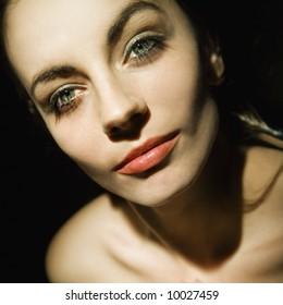 Close up of pretty Caucasian woman.
