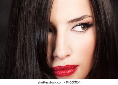 Close up of a pretty woman's face