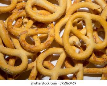 A close up of pretzels