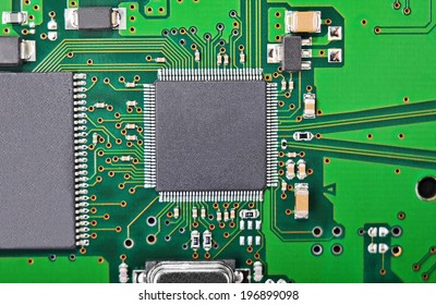 Close up of a printed green computer circuit board, DOF
