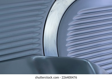 Close up of a professional slicer used in restaurant kitchen