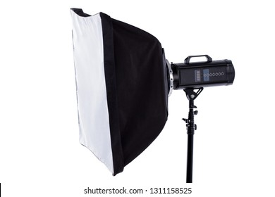 Close up professional soft box. Side view studio flash with clipping path. Professional shooting in photostudio. Isolated on white background.