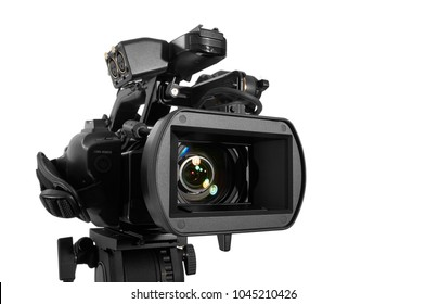 Close up of Professional Video Camera pointing to camera right.  With Excellent Clipping Path. Studio Shot. Video concept.