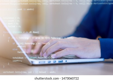 close up programmer man hand typing on keyboard at computer desktop for input coding language to software for fix bug and defect of system in operation room , development of technology concept