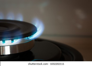 Close Up Propane Gas Burner Burn On Stove In Kitchen Of House With Copyspace.