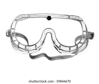 close up of  protective eyeglasses on white background  with clipping path