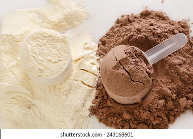 Close up of protein powder and scoops