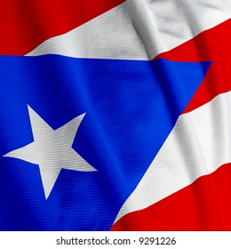 Close up of the Puerto Rican flag, square image