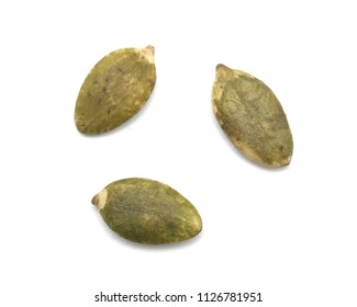 Close up of Pumpkin seeds isolated on white background.Healthy Food.