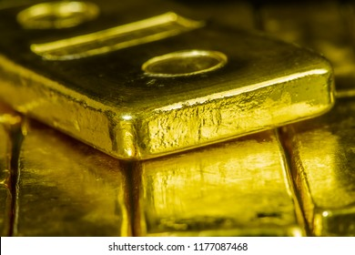 Close Up Pure Gold Bar Ingot Put On The Black Color Surface Background Represent Business