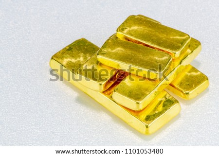 d142174afac3b close up pure gold bar ingot put on the black color surface background  represent the business