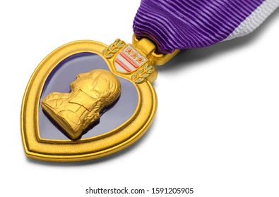 Close Up of Purple Heart Military Medal Isolated on White.