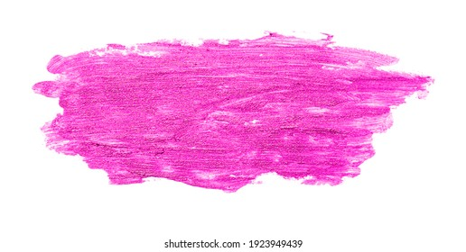 Close up of purple lipstick smudge or smear isolated on white background.