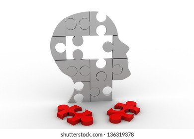 close up of a puzzle game parts on a head silhouette