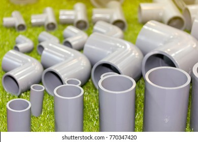 close up pvc connector parts (pipe elbow three way) for plumbing work