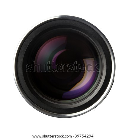close up of quality photo lens optics on white background with clipping path