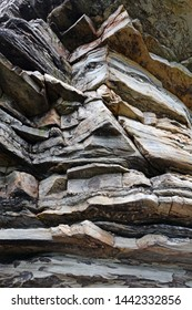 Close up of the quartzite rock cliffs at Pilot Mountain State Park in North Carolina.